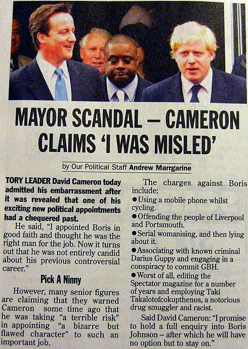 """Mayor Scandal - Cameron claims 'I was misled'"" article from Private Eye"